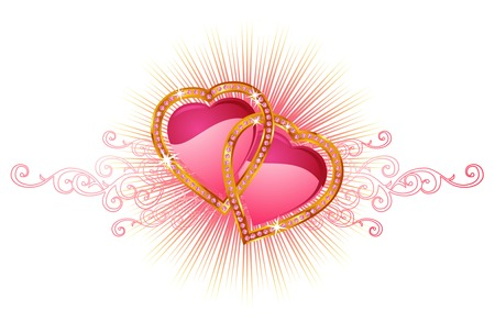Two  love hearts   valentine and wedding   vector Illustration
