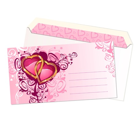 valentines postcard and envelope  vectorlayers are separated Vector