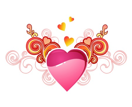 diamond heart: valentines heart with love  vectorlayers are separated