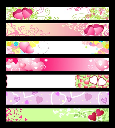 love & hearts website banners  vector  ideally for you use