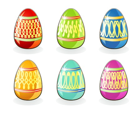Collection of Easter painted eggs isolated on white background  vector  Layers are separated! Vector
