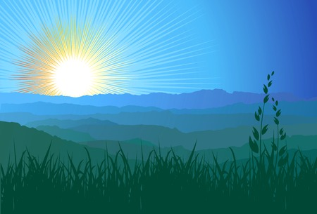 Landscape. Mountains, ascending or a sitting down sun  vector Vector