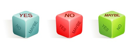 maybe: yes - no - maybe  vector illustration of dice with 3 options  3 colors