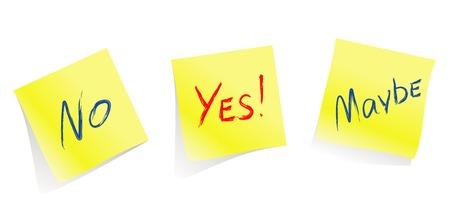 möglicherweise: Ja  Nein  Vielleicht  gelb beachten Seiten  vectorWill helfen Ihnen bei der Entscheidung akzeptieren oder informieren sie �ber Ihre Entscheidung:)  Illustration