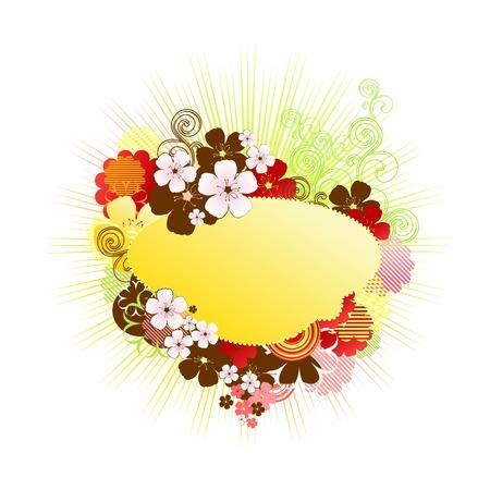 frame vector: floral frame  vector  spring background