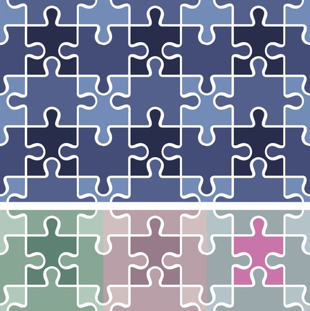 puzzle seamless pattern  vector background  4 colors Vector