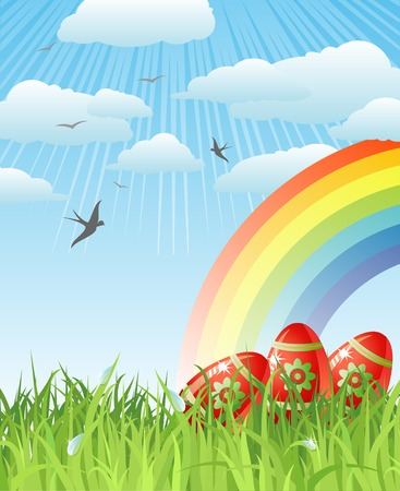 creative egg painting: easter with eggs, birds and rainbow  vector