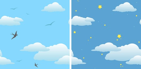 two seamless background - day sky & night sky  vector Vector