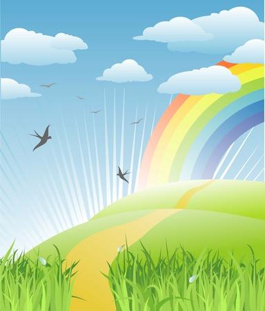 horizon over land: grass, birds and rainbow landscape  vector