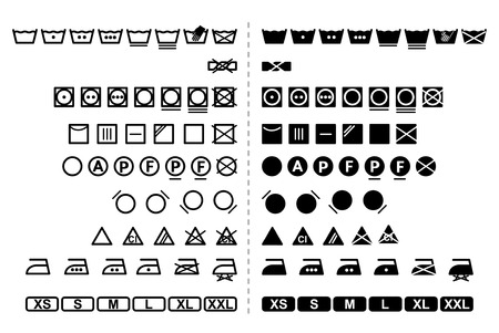 thinking machines: Icon Set of washing symbols  black and white  vector