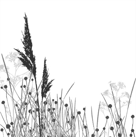landscaped: Grass silhouettes  vector  elements are separated Illustration