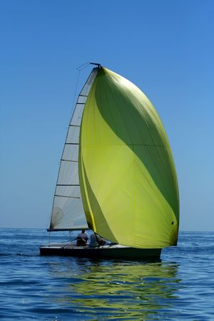 sailing yacht: Sailing yacht with spinnaker in the wind  beautiful image