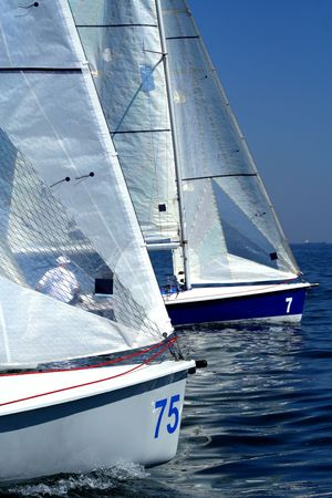 bow of boat: start of sailing race  yachting  sport