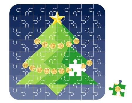 Puzzle Christmas Tree  vector illustration Vector