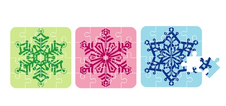 Christmas snowflakes  puzzle  vector illustration Vector
