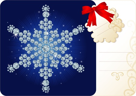 Diamond snowflake  Christmas background with tag and copy space for your text Vector