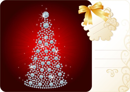 jewelry vector: Diamond Christmas Tree  Holiday background with tag and copy space for your text Illustration