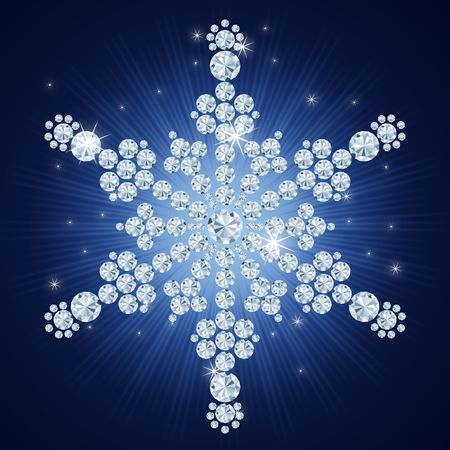 Diamond snowflake  Christmas background  art-illustration illustration