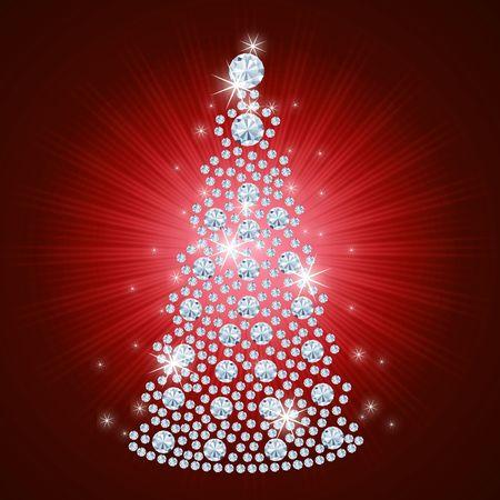 navidad: Diamond Christmas Tree  Holiday background  art-illustration