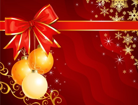 Christmas decoration with ribbon  holiday background  vector  The layers are separated Vector