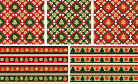Christmas seamless backgrounds set  wallpapers or wrapping paper or background  vector Vector