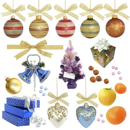 Christmas collection  isolated objects    XXXL sizeVarious objects related to Christmas isolated on white without shadow. Ideal as background. includes:Christmas ornaments and decorations, Christmas tree, various Christmas balls, mandarins, ribbons, gif photo