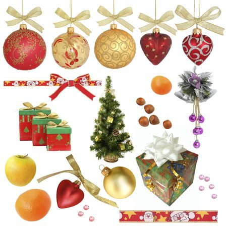 Christmas collection / isolated objects  /  XXXL sizeVarious objects related to Christmas isolated on white without shadow. Ideal as background. includes:Christmas ornaments and decorations, Christmas tree, various Christmas balls, mandarins, ribbons, gif Stock Photo - 3742622