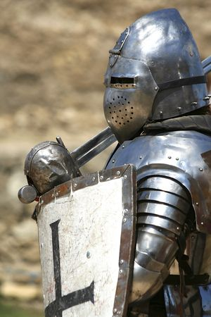 knight in shining armor  historical festival Stock Photo