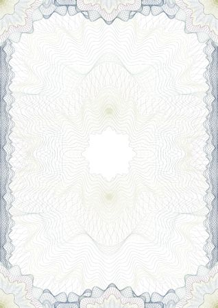 Classic guilloche border for diploma or certificate. A4  CMYK Layers are separated!
