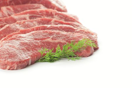Fresh Cuts of Meat  isolated on white background photo