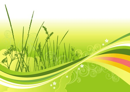 grass, flowers and abstract lines background / vector illustrationLayers are separated! A4/ vector cmyk Stock Vector - 4501936