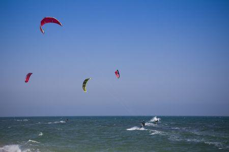 kitesurfers  riding the waves  Black Sea photo