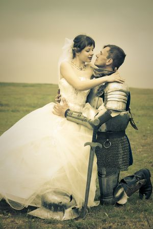 long-awaited meeting  Princess Bride and her knight  retro style toned photo