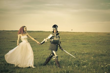 Princess Bride and her knight  wedding  retro style toned photo