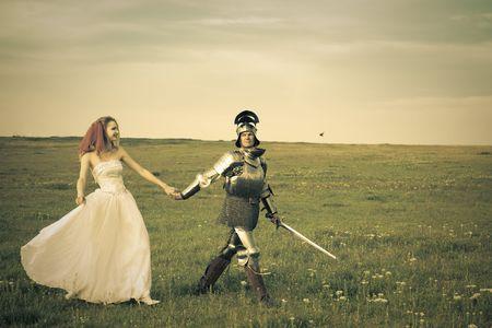 ritter: Princess Bride und ihr Ritter  Hochzeit  Retro-Stil get�nten