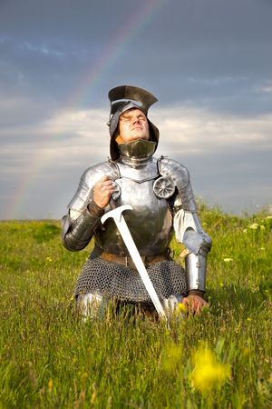 knights: weary knight, after the battle  rain and real rainbow