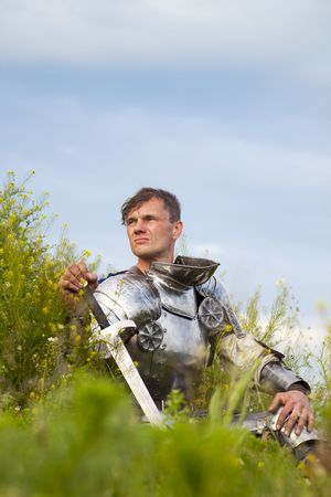 knight helmet: knight, after the battle   summer