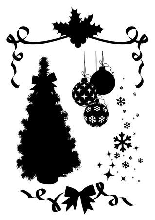 robbon: christmas silhuettes set  vector  tree, holly, snowflakes, balls, robbon