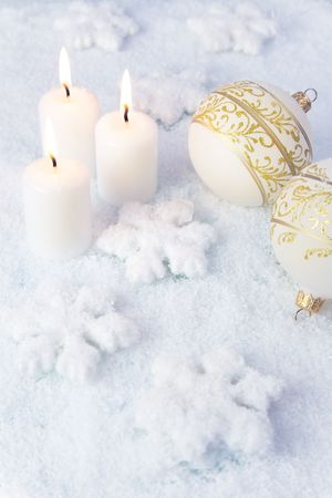 frost: Elegance Christmas Background  Holiday Candles and Decorations
