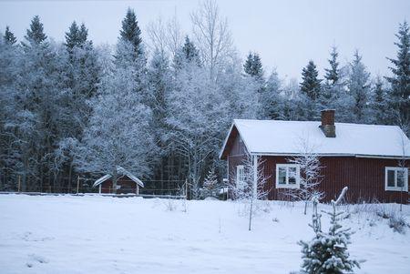 Финляндия: Village winter  Christmas  wooden house under snow  Finland