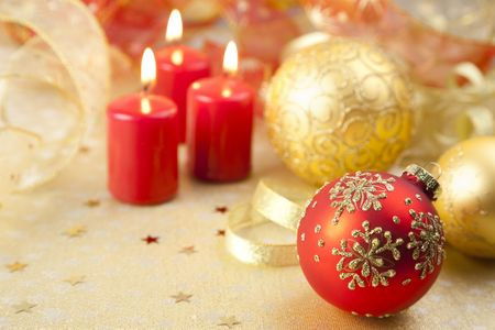Christmas Background  Holiday Candles and Decorations photo