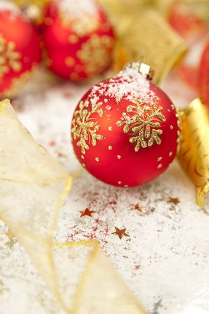 Christmas Background  Holiday Decorations with  baubles and ribbons photo
