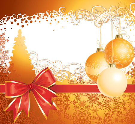 Christmas background with decorations and bow / vector / copy space for your text Stock Vector - 5855346
