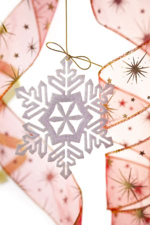 Christmas decoration with snowflake and ribbons / on white bacground Stock Photo - 5855354