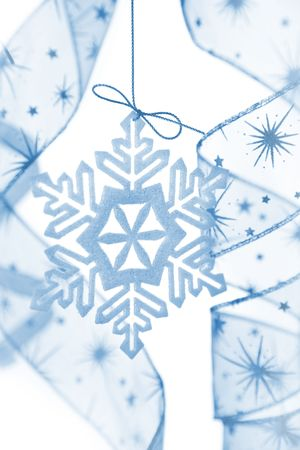 Christmas decoration with snowflake and ribbons / on white bacground Stock Photo - 5855351