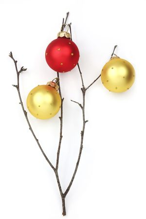 xxxl: Christmas holiday background  XXXL size  twig with red and yellow baubles