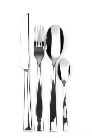 knife, fork, spoon and teaspoon  christmas holiday white background  XXXL size photo