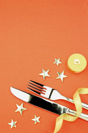 xxxl: knife, fork, ribbon, stars, candle  XXXL size  cristmas holiday background