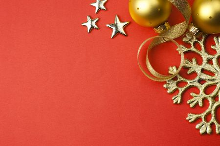 xxxl: XXXL size  christmas holiday red background with golden snowflake, stars and baubles  Stock Photo