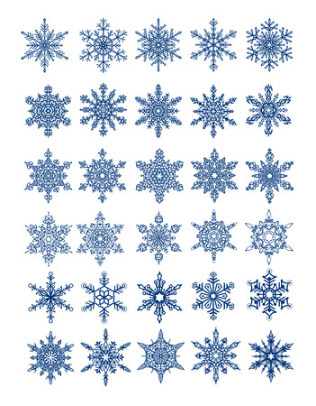 30 unique snowflakes in all  6 different sets  vector